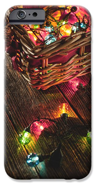 Ornament Pyrography iPhone Cases - Christmas Lights iPhone Case by Alexey Ivanov