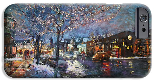 Thin iPhone Cases - Christmas Lights in Elmwood Ave  iPhone Case by Ylli Haruni