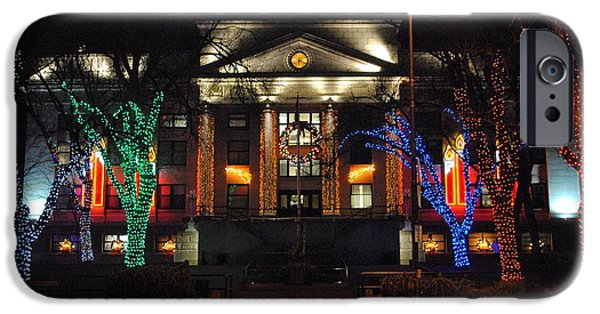 Prescott iPhone Cases - Christmas Lights In Prescott iPhone Case by Jill Baum