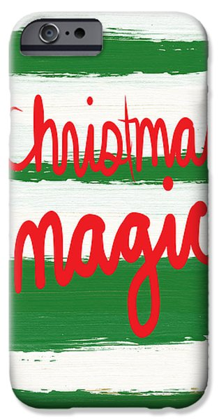 Christmas Mixed Media iPhone Cases - Christmas Magic - Greeting Card iPhone Case by Linda Woods