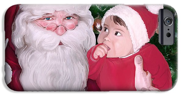 Christmas Eve Digital Art iPhone Cases - Christmas moments with Santa Claus iPhone Case by Gina Dsgn
