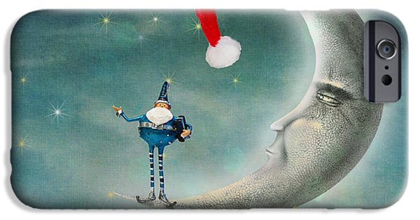 Father Christmas iPhone Cases - Christmas Moon iPhone Case by Juli Scalzi