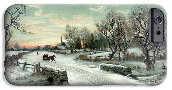 Horse And Buggy iPhone Cases - Christmas Morn iPhone Case by Photo Researchers