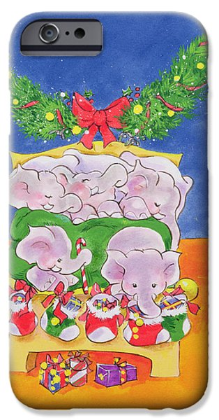 Elephant iPhone Cases - Christmas Morning iPhone Case by Diane Matthes