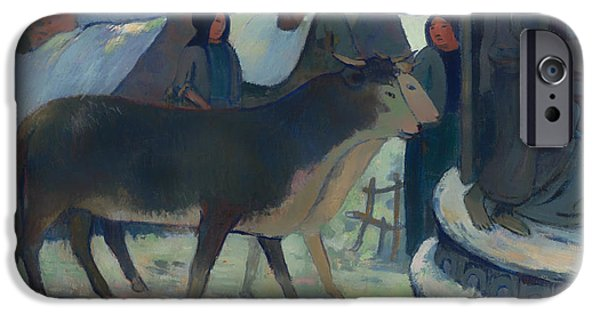 Holy Cow iPhone Cases - Christmas Night Blessing of the Oxen iPhone Case by Paul Gauguin