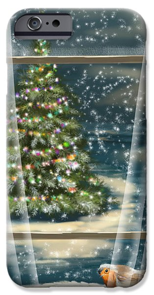 Tree Print Digital iPhone Cases - Christmas night iPhone Case by Veronica Minozzi