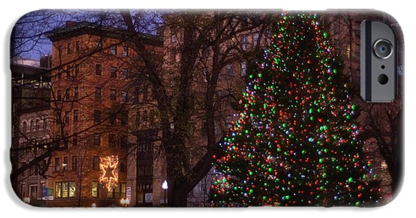 Boston Nightscape iPhone Cases - Christmas on the Boston Common iPhone Case by Joann Vitali