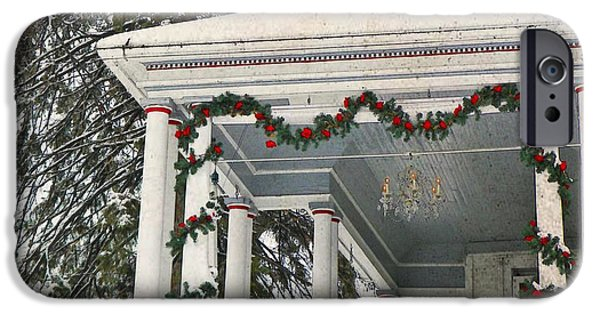 Christmas Greeting iPhone Cases - Christmas on the Veranda  iPhone Case by Chris Berry