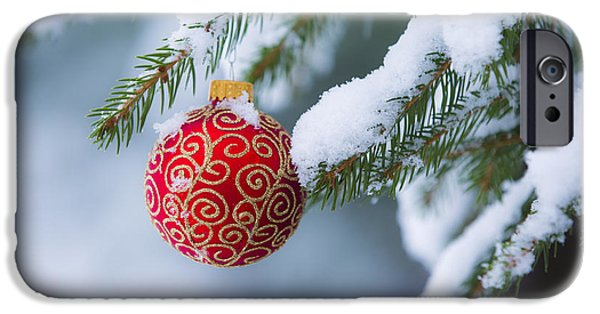 Winter Scene iPhone Cases - Christmas Ornament iPhone Case by Diane Diederich