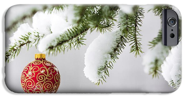 Snow Scene iPhone Cases - Christmas Ornament in the Snow iPhone Case by Diane Diederich