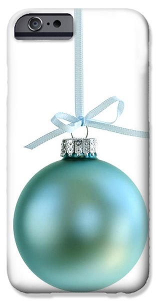 Baubles iPhone Cases - Christmas ornament on white iPhone Case by Elena Elisseeva