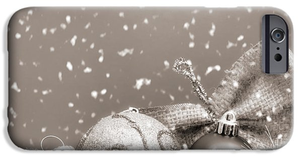 Monotone iPhone Cases - Christmas Ornaments iPhone Case by Wim Lanclus
