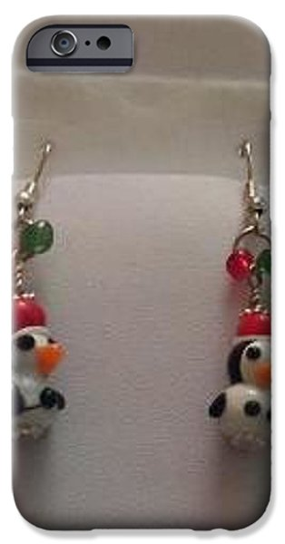 Christmas Jewelry iPhone Cases - Christmas Penguin Earrings iPhone Case by Kimberly Johnson