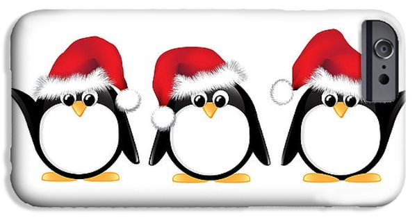 Cartoon Birds iPhone Cases - Christmas penguins isolated iPhone Case by Jane Rix