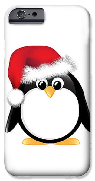 Christmas penguins isolated iPhone Case by Jane Rix