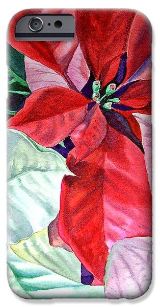 Holiday Season iPhone Cases - Christmas Poinsettia iPhone Case by Irina Sztukowski