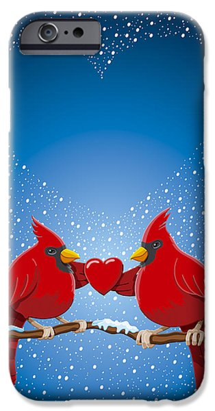 Snow iPhone Cases - Christmas Red Cardinal Twig Snowing Heart iPhone Case by Frank Ramspott