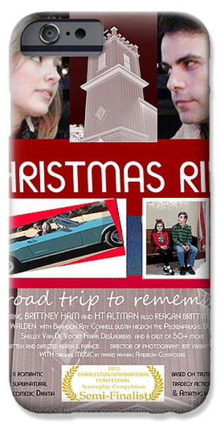 Flag iPhone Cases - Christmas Ride Poster w Church iPhone Case by Karen Francis