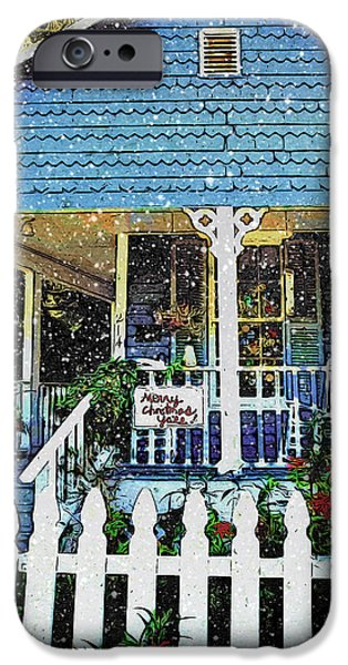 Christmas Greeting iPhone Cases - Christmas Scene Blue House Snow Falling - Merry Christmas Yall  iPhone Case by Rebecca Korpita