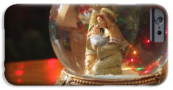 Christmas Eve iPhone Cases - Christmas Snow Globe iPhone Case by Dan Sproul