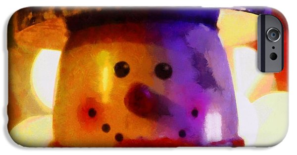 Christmas Eve Paintings iPhone Cases - Christmas Snowman iPhone Case by Dan Sproul