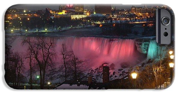 Balcony iPhone Cases - Christmas Spirit at Niagara Falls iPhone Case by Lingfai Leung