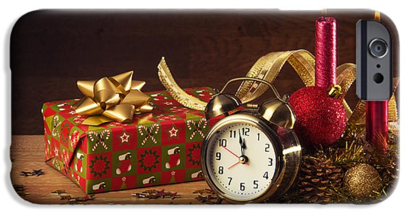 Clock iPhone Cases - Christmas Still-life iPhone Case by Carlos Caetano
