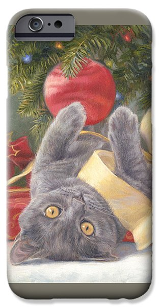 Pine Paintings iPhone Cases - Christmas Surprise iPhone Case by Lucie Bilodeau