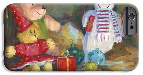 Cheer On iPhone Cases - Christmas Teddy Bears iPhone Case by David Garrison