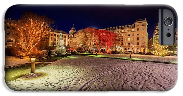 Snowy Night iPhone Cases - Christmas Time At Austurvollur iPhone Case by Panoramic Images