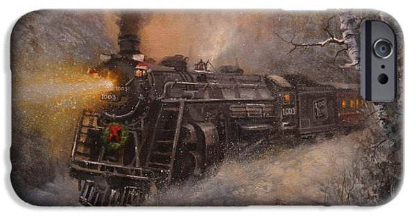 Snow iPhone Cases - Christmas Train in Wisconsin iPhone Case by Tom Shropshire
