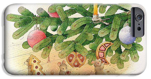 Eating iPhone Cases - Christmas Tree And Mice, 1999 Wc On Paper iPhone Case by Kestutis Kasparavicius