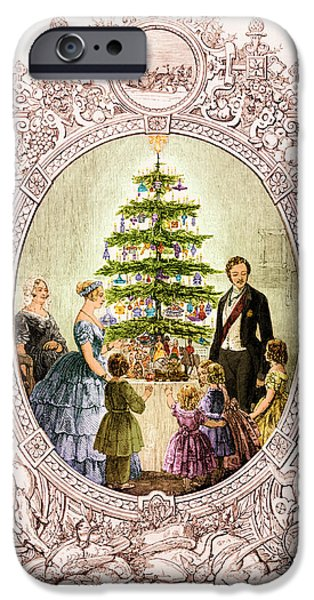 Royal Family Arts iPhone Cases - Christmas Tree At Windsor Castle 1848 iPhone Case by Photo Researchers
