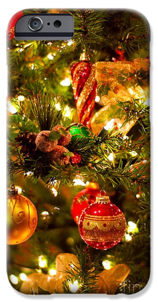 Christmas tree background iPhone Case by Elena Elisseeva