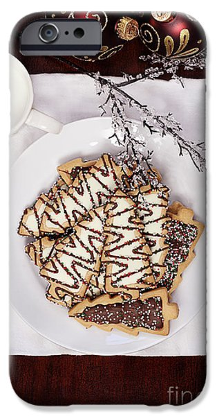 Snake iPhone Cases - Christmas Tree Cookies an Milk iPhone Case by Stephanie Frey