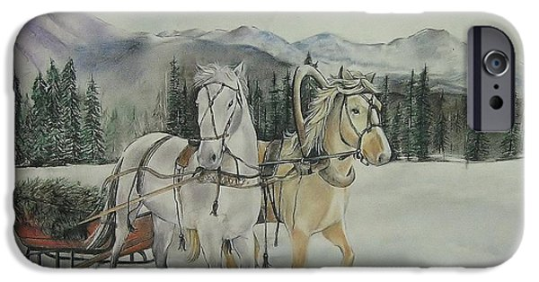 The Horse Pastels iPhone Cases - Christmas Tree Delivery iPhone Case by Denise Theobald
