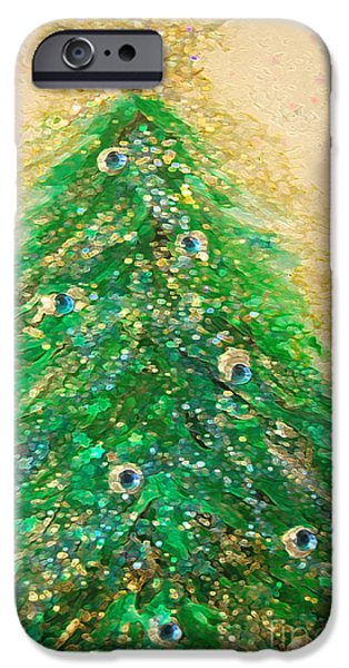 Jrr iPhone Cases - Christmas Tree Gold by jrr iPhone Case by First Star Art