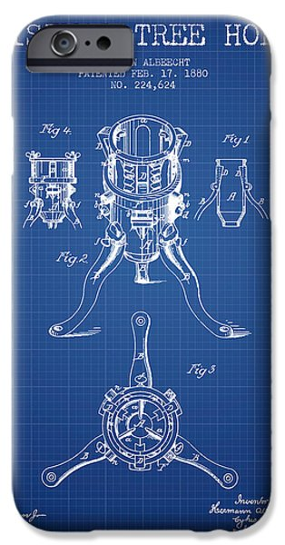 Christmas iPhone Cases - Christmas Tree Holder Patent from 1880 - Blueprint iPhone Case by Aged Pixel