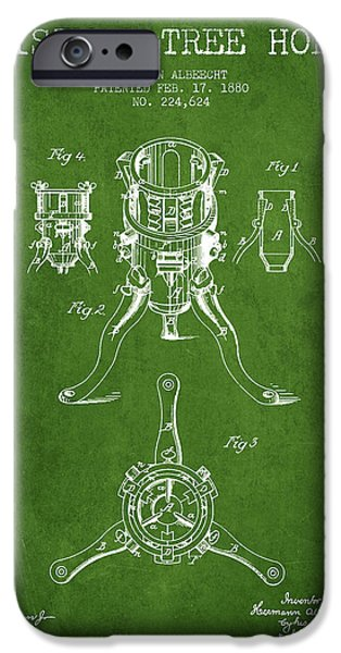 Christmas iPhone Cases - Christmas Tree Holder Patent from 1880 - Green iPhone Case by Aged Pixel