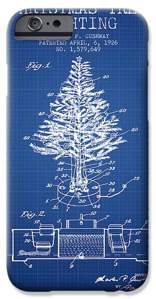 Christmas iPhone Cases - Christmas Tree Lighting Patent from 1926 - Blueprint iPhone Case by Aged Pixel