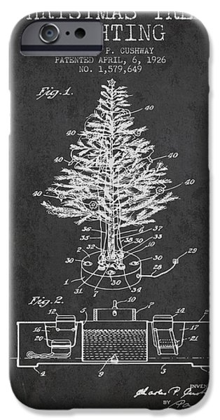 Christmas iPhone Cases - Christmas Tree Lighting Patent from 1926 - Dark iPhone Case by Aged Pixel