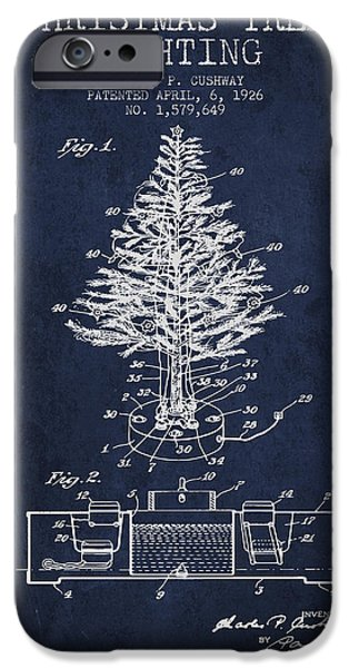 Santa Digital iPhone Cases - Christmas Tree Lighting Patent from 1926 - Navy Blue iPhone Case by Aged Pixel