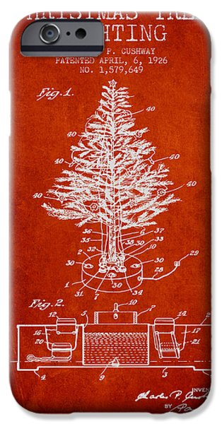 Santa Digital iPhone Cases - Christmas Tree Lighting Patent from 1926 - Red iPhone Case by Aged Pixel