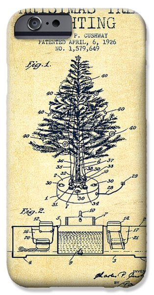 Technical iPhone Cases - Christmas Tree Lighting Patent from 1926 - Vintage iPhone Case by Aged Pixel