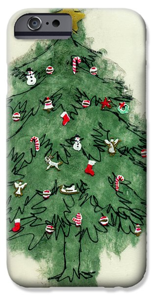 Christmas Mixed Media iPhone Cases - Christmas Tree iPhone Case by Mary Helmreich