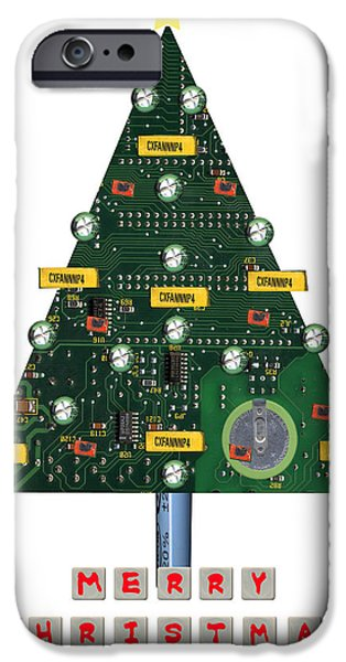Christmas Mixed Media iPhone Cases - Christmas Tree Motherboard iPhone Case by Mary Helmreich