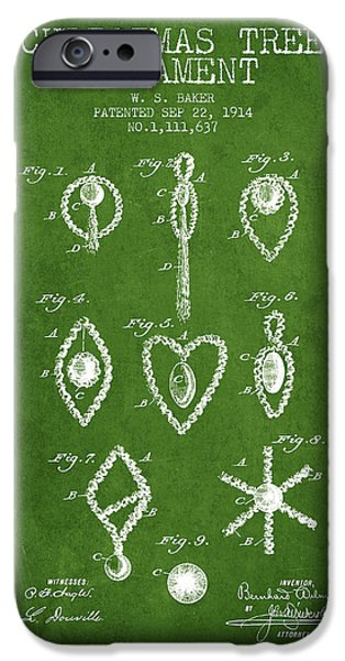 Christmas iPhone Cases - Christmas Tree Ornament Patent from 1914 - Green iPhone Case by Aged Pixel