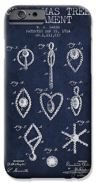 Christmas iPhone Cases - Christmas Tree Ornament Patent from 1914 - Navy Blue iPhone Case by Aged Pixel