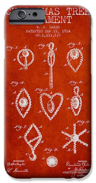 Christmas iPhone Cases - Christmas Tree Ornament Patent from 1914 - Red iPhone Case by Aged Pixel