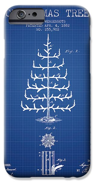 Christmas iPhone Cases - Christmas Tree Patent from 1882 - Blueprint iPhone Case by Aged Pixel